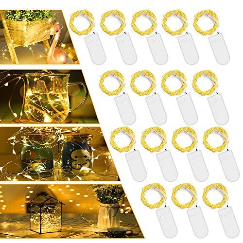 LED Batterie Lichterkette Warmweiß,【16 Stück】Vivibel 2M 20er Mikro LED Lichterkette mit Batterie, IP65 Wasserdicht String Fairy Light Kupfer Drahtlichterkette für Party, Christmas Dekor, Flasche DIY