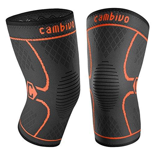 CAMBIVO 2 x Kniebandage Damen und Herren, Knieschoner, Kniestützer für Laufen, Wandern, Joggen, Sport, Volleyball, Crossfit (L, Schwarz/Orange)