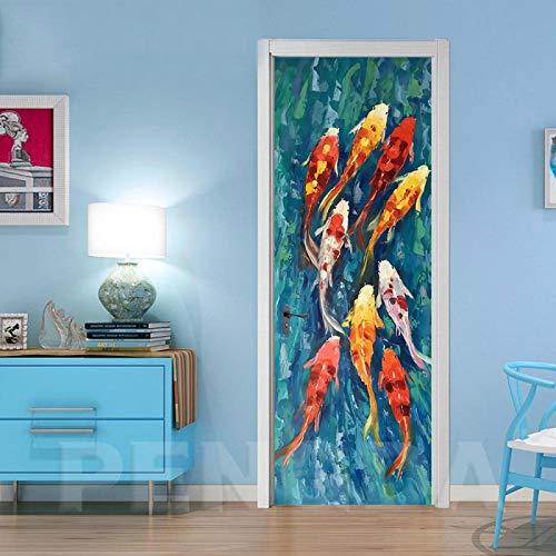 Adhesivos para puertas interiores Cuadro carpa abstracto 77x200cm Etiqueta engomada del arte de las etiquetas engomadas de la pared 3D DIY, decoración casera autoadhesiva para la decoración de la pare