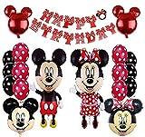 Mickey Party Globos, Decoraciones de cumpleaños de Mickey Mouse, Mickey y Minnie Party Decorations Fiesta de cumpleaños de Mickey Mouse con Globos Rojos
