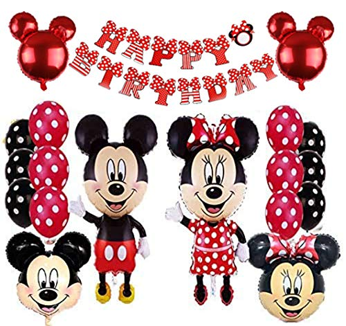Mickey Party Globos, Decoraciones de cumpleaños de Mickey Mouse, Mickey y Minnie Party Decorations Fiesta de cumpleaños de Mickey Mouse con Globos Rojos