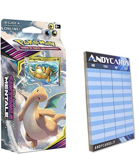 Andycards Baraja Dragonite Sintonia Mentale – Baraja de 60 cartas Pokémon en italiano + marcador de puntadas
