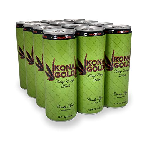 Kona Gold Candy Apple Hemp Energy Drink 12.0 Fluid Ounces, 12 Pack, Zero Calories, Zero Sugar, Natural Flavors, Organic Hemp