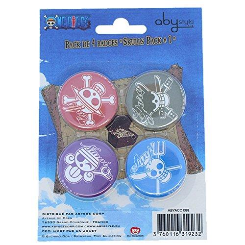 Abystyle - ABYACC088 - Déguisement - One Pièce - Pack de Badges - Skulls 1