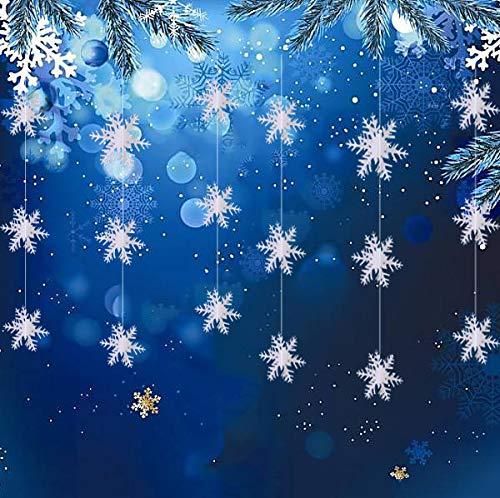 Winter Weihnachten hängende Schneeflocken-Dekorationen – 12 Stück 3D große Schneeflocken hängende Girlande für Weihnachten Winter Wunderland Urlaub Neujahr Party Heimdekoration weiß
