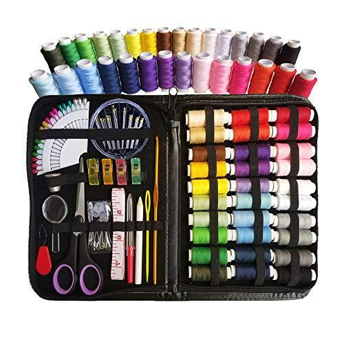 XQK Kit de Costura de carretes de Hilo de 30 Colores 100 Piezas Accesorios de Suministros de Costura DIY para Principiantes con Cinta métrica Dedal Lupa Lupa antiarañazos Bolsa de PU