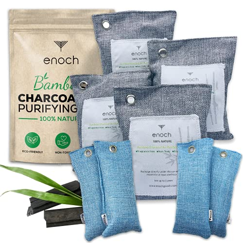 Enoch Bamboo Charcoal Air Purifying Bags (8 Packs) Activated Odor Moisture Absorber, Natural Air Freshener. Air Deodorizer Dehumidifier Bags for Homes, Cars, Shoes, Fridges, Closets (4x200g+4x50g)
