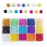 ASFINS Kit Pulseras Bolitas, 15 Colores de Bolitas Mini Abalorios Perlas Vidrio Cuentas, para Joyas Collares Pulseras Pendiente BisuteríA Regalo DIY, 4mm (B)