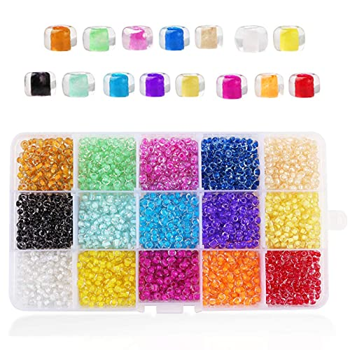 ASFINS Kit Pulseras Bolitas, 15 Colores de Bolitas Mini Abalorios Perlas Vidrio Cuentas, para Joyas...