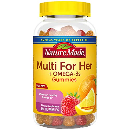 Nature Made Women's Multivitamin + Omega-3 Gummies, 150 Count Value Size for Daily Nutritional Support