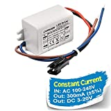 Chanzon LED Driver 300mA (Constant Current Output) 3V-20V (Input 100-240V AC-DC) (1-6) x1W 1W 2W 3W 4W 5W 6W Power Supply 300 mA Lighting Transformer Drivers for High Power COB Chips (Plastic Case)