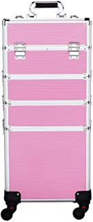 Yaheetech Professional Rolling Makeup Artist Case, Makeup Trolley Travel Cosmetic Case Beauty Case Trolley Brand New Pink