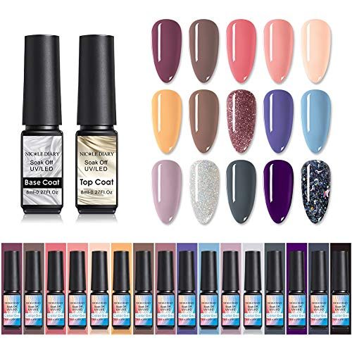 NICOLE DIARY Gel-Nagellack-Kit mit UV-LED-Licht - 16 Farben Gel-Nagellack-Basis und Decklack, Nude Shimmer Glitter-UV-Nagellack-Gel-Farben Spring Summer Tränken-Off-UV-Gel-Nagellack-Set