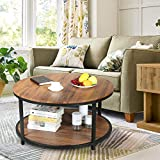 PETITURE Round Coffee Tables for Living Room with Storage Industrial Coffee Table Wood and Metal Brown 2 Tier 36 inch
