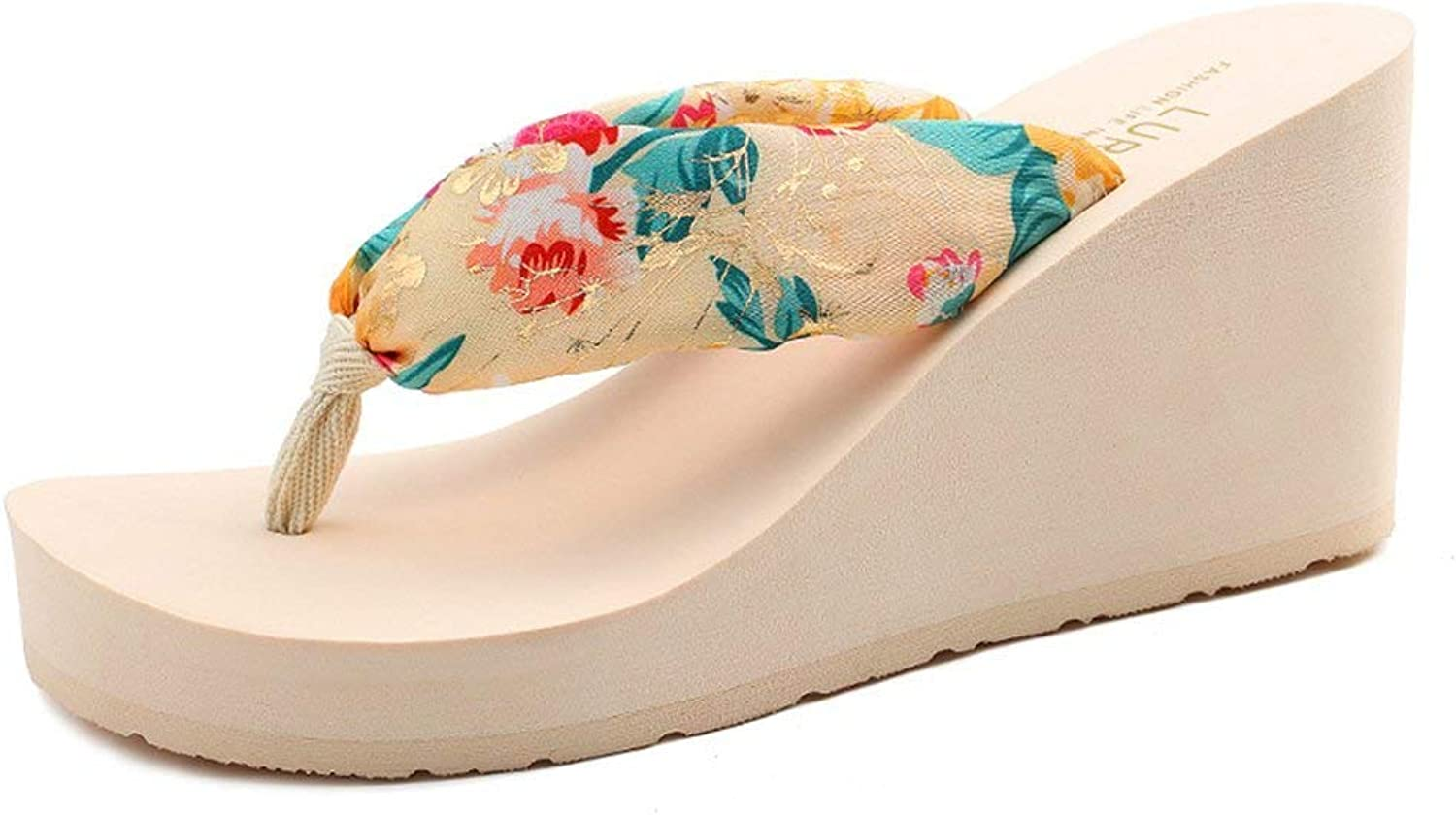 Wallhewb Women's Bohemian Floral Wedge Thong Sandals Platform Beach Flip Flops Vacation Slope Heel Rubber Sole Printing Beach shoes Breathable Upper Match Dresses Beige 5 M US Flip Flops