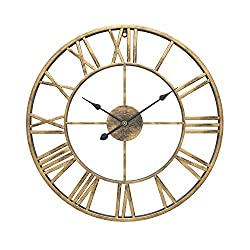 WGWART Wall Clock, 24 Round Oversized Ancient Roman Numeral Style Silent Quartz Movement Wall Clock for Home Décor Analog Gold Metal Clock, Black Hands (Gold)