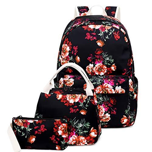 FLYMEI Girls Backpack for School, Waterproof Kids Backpack, Women Floral Backpack, Lightweight Travel Bag with Lunch Bag, 15.6'' Laptop Bag, Girls Daypack