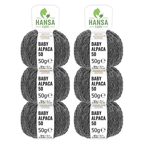 HANSA-FARM 100% Laine d'alpaga (bebé) dans 50+ Couleurs (ne Gratte Pas) - Kit de 300g (6 x 50g) - Laine Baby alpaga pour Tricot & Crochet dans 6 épaisseurs de Fil de Gris foncé