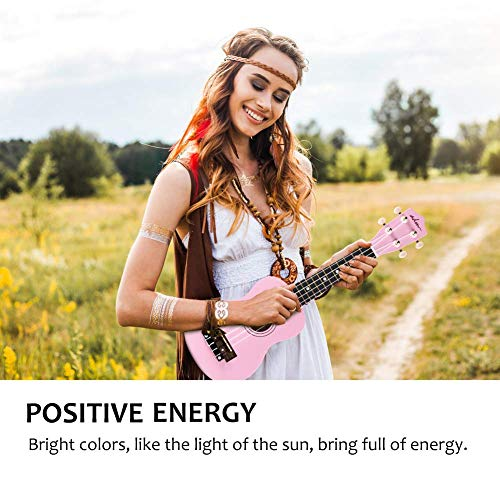 ADM Soprano Ukulele for Beginners 21 Inch Hawaiian Wood Ukelele Kit for Kids Adults Students Starter Professional Ukalelee Pack Bundle with Strap and Gig Bag etc, Brown