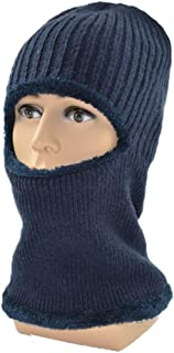 Hat Fashion Outdoor Ski Warm Hooded Hat Thick Knit Hat Siamese Wool Hat Fashion Accessories (Color : Navy)