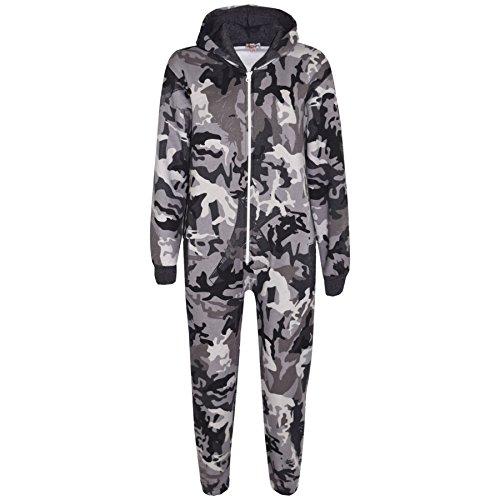 A2Z 4 Kids A2Z 4 Kids® Kinder Mädchen Jungen Vlies Camouflage - Fleece Onesie A2Z Camo Charcoal 5-6