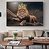 wZUN León y Corona Real Impresiones en Lienzo Carteles e Impresiones murales Animales africanos Divertidos Cuadros de Pintura de león 60x90 Sin Marco