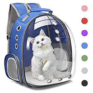 Henkelion Cat Backpack Carrier Bubble Carrying Bag, Small Dog Backpack Carrier for Small Medium Dogs Cats, Space Capsule Pet Carrier Dog Hiking Backpack, Airline Approved Travel Carrier – Blue