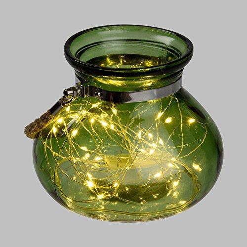 LuminalPark - Vasija de Cristal Verde con Luces, Ø 15 x h 12,5 cm, 40 MicroLED luz cálida a Pilas, para Decoración de Interior y Fiestas en el jardín