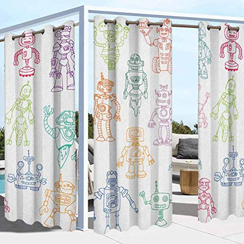 ParadiseDecor Doodle Washable Curtains for Pergola Sun Room Drawings of Various Robots Performing a Number of Tasks Radar Waiter Guard Cleaner Multicolor 100W x 84L Inch
