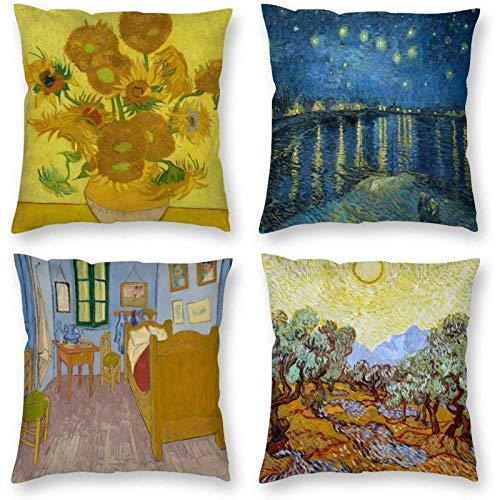 Adatto per Vincent Van Gogh, design di arte astratta notte stellata federa quadrata, quattro pezzi soggiorno decorazione della casa cuscino federa cuscino 45x45 cm