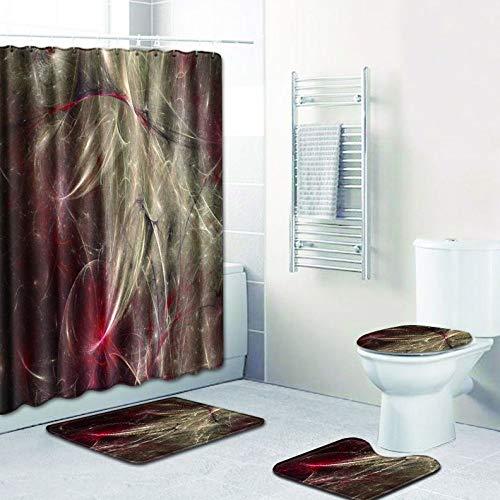 WANJIA Rutschfestes Badezimmer-Set, Duschvorhang + Badematte + U-förmige Badematte + WC-Abdeckung 4 Kombinationen+12 Haken für Duschvorhänge. 45 * 75cm W180619-D044