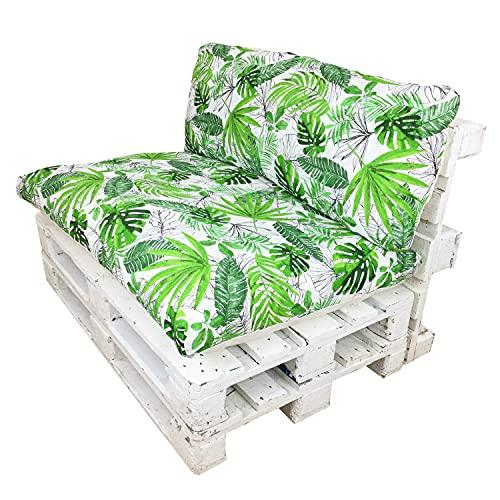 Happy Life Conjunto de Cojines (Asiento + Respaldo) para Muebles de Palets. Ideales para Uso en Interiores o Exteriores. Decora tu Teraza, Jardín, Balcón (Palmeras)