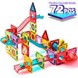 ZAYOR Magnetic Tiles Blocks for Kids 3D with Clear Color Educational Toys Magnetic Marble Run Magnetic Building Blocks Stem Toy for 3 4 5 6 7 8 Year Old Boys Girls Toys Set 72 Pcs