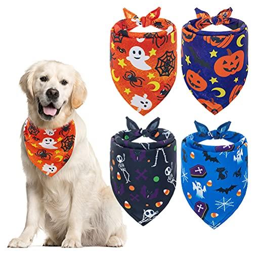 EXPAWLORER Halloween Dog Bandana Triangle Bibs with Pumpkin Bat Spider Ghost Pattern Washable Scarf Accessories