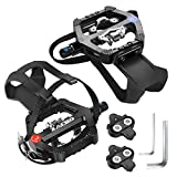 Zacro Spin Bike SPD Pedals 9/16' with Clips and Straps, Dual Alloy Bicycle Pedals, SPD Pedals Compatible with Spin/Indoor/Excercise/Peloton/Stationary Bicycle Pedals