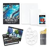 Zenacolor - Kit de Pintura Acrilica (40 piezas) - 24x12ml Pinturas Acrílicas - Con 5 Lienzos para Pintar Acrilico, 10 Pinceles, 1 Paleta - Set Pintura Acrilica para Artistas