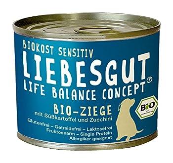Liebesgut Nourriture Bio pour Chien Chèvre avec patate Douce et courgette, Lot de 12 (12 x 200 g)