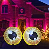 GOOSH 4 FT Length Halloween Inflatable Outdoor Double Cute Yellow Eyeballs , Blow Up Yard Decoration Clearance with LED Lights Built-in for Holiday/Party/Yard/Garden