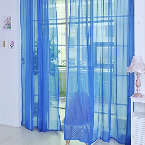 ToDIDAF Transparente Gardinen Vorhang, 1 x 2 m Einfarbige Organdy-Vorhänge Tüll Fenster Behandlung Voile Drapieren Volant, 1 Plattenstoff für Wohnzimmer Schlafzimmer Kinderzimmer Babyzimmer Deko (L)