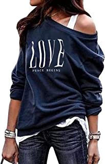 Phyhrt Womens One Shoulder Casual Pullover Long Sleeve Oversized Print Sweatshirts Loose Tunic Tops