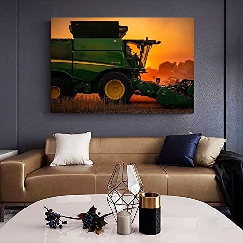 Cartel de coche abstracto moderno John Deere cartel de agricultura de trigo y arte de pared impresión de imagen moderna decoración de dormitorio familiar 70x90cm sin marco