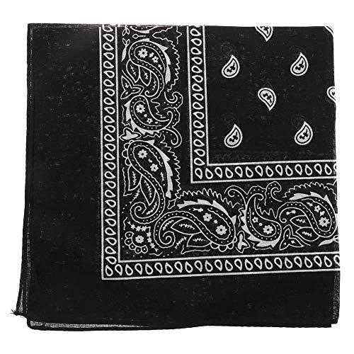 Lecheng Paisley Bandana Halstuch 55 x 55 cm Kopftuch Armtuch Haar, Frauen Männer und Kinder Mode-Accessoire(One Size Schwarz)