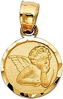 14k Yellow Gold Cherubic Guardian Angel Pendant