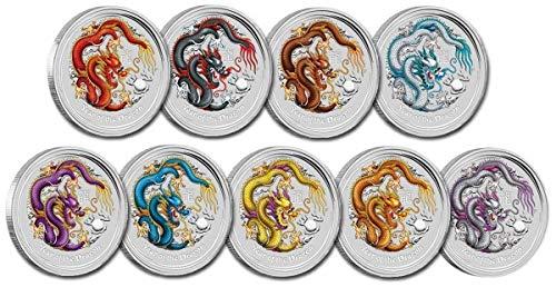 9 x Lunar Drache 2012 farbig coloriert 1 Unze Silber Münze Silbermünze Australien 1 oz silber in Münzkapsel