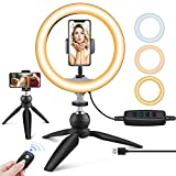UBeesize 10' LED Ring Light with Tripod Stand & Phone Holder, Dimmable Desk...