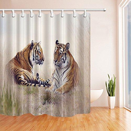 Fansu Duschvorhang Anti-Schimmel Wasserdicht Antibakteriell Tiere 3D Drucken, Polyester Transparent Karikatur Vorhang für Badzimmer Digitaldruck mit 12 Duschvorhangringe (120x180cm,Tiger)