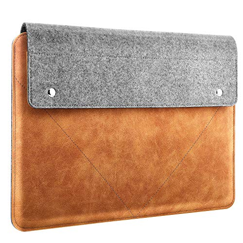 MoKo Laptop Sleeve Fits MacBook Air 13-inch Retina, MacBook Pro 13', Dell XPS 13, Asus ZenBook, HP Acer Lenove 13-13.3 Inch Notebook Computer, Felt and PU Leather Case Bag with Pocket - Gray & Brown