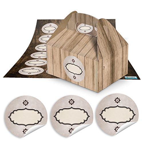 10piccolo marrone scatole regalo Confezione in simil legno (9x 12x 6cm senza manico) + 24rotonda adesivo nome etichetta ovale marrone (1802) Ø 4cm zum liebenvollen pugilato di piccoli regali