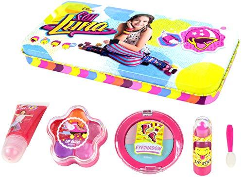 Disney Soy Luna Beauty-Dose mit Soy Luna Motiven (Schmink-Set enthält Lippgloss-Tube, Lidschatten, Lippenstift, Lippgloss-Set und Applikator), ungiftige Kinder-Schminke auf Wasserbasis