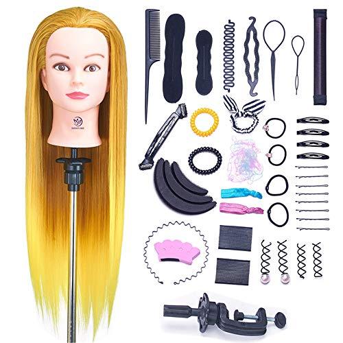 """SIGHTLING 26"""" 100% Capelli Sintetici Testina Parrucchiere Testa Studio Parrucchiere Manichino Cosmetologia Formazione Pratica Modello con Morsetto & DIY Hair Styling Tools"""